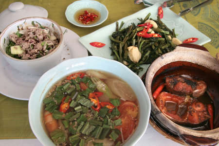delightful: Medley of delightful Vietnamese meat, vegetable and soup dishes