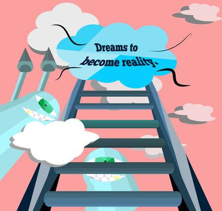 De droom werd het beklimmen van de trap, maar Pai. Ook een hindernis aan de droom die hij moest het doorgeven aan jou. Vector Illustratie