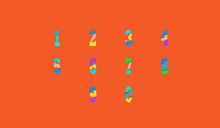 0 9: Joyful set of cut paper vector numbers from 0 to 9. Multicolored gradient.