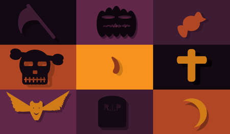 helloween: Set icon- Helloween flat design Illustration