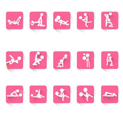 Hombre y mujer los dibujos animados kit Kama Sutra posición aislada en el fondo blanco Ilustración sexualintercourse vector puede utilizar para el diseño del logotipo del icono del Web afiche publicitario diseño etc.