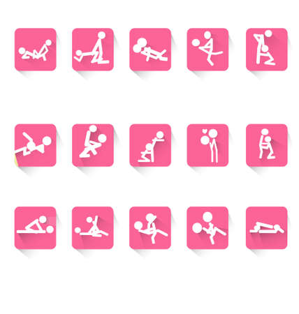 Man and woman cartoons Kama Sutra position kit isolated on white background sexualintercourse vector illustration can use for logo design web icon design poster advertising etc. Banque d'images