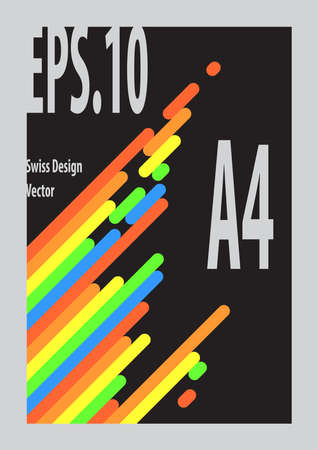 Swiss Design s Compostion colorful with black background and gray frame.