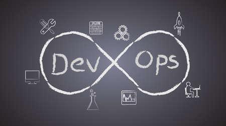 黒板背景に DevOps の概念は、ソフトウェア開発のプロセスを示しています、仕事を一緒に達成するための操作が自動化ツールを通じて発展を続ける  イラスト・ベクター素材