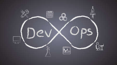 Concept of DevOps on blackboard background, illustrates the process of software development and operations work together achieve continues development through automation tools Vektorové ilustrace