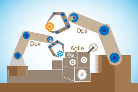 DevOps 개념, 민첩한 개발에서의 소프트웨어 개발과 정보 기술 운영 간의 협업 및 의사 소통을 통한 소프트웨어 전달 자동화를 보여줍니다. 일러스트