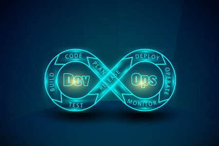 Concept of DevOps, illustrates the communication and collaboration between Development and Operations stages and represented through two circles connected each other on a blue background