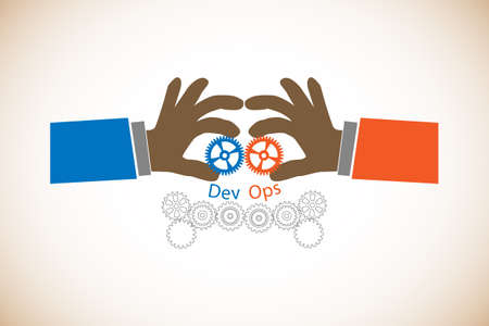 Concept of DevOps, illustrates software delivery process automation through communication and collaboration between developers and IT professionals, cogwheel represents practices and automation tools Vectores