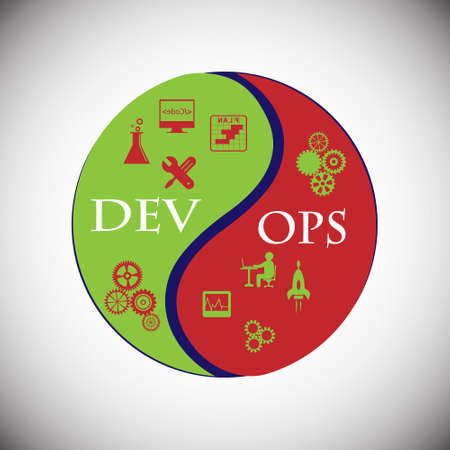 Concept of development and operations. this represents the set of practices that enforce to automate the software delivery and operations process, vector icons set Çizim