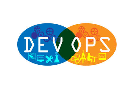 Concept of development and operations. vector icons set Çizim