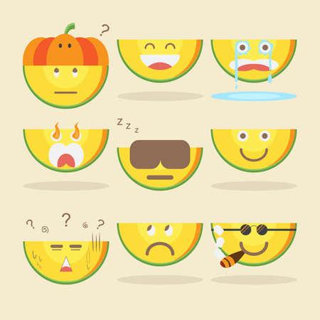 Kawaii Pumpkin with various emotions on cream background. Illustration