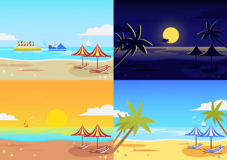 Landscape beach set with spring,summer and autumn.