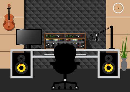 Sala de grabación o estudio de diseño de interiores de estilo simple con Soundcraft con equipo de grabación sobre fondo de pared Acaustic. Ilustración de vector