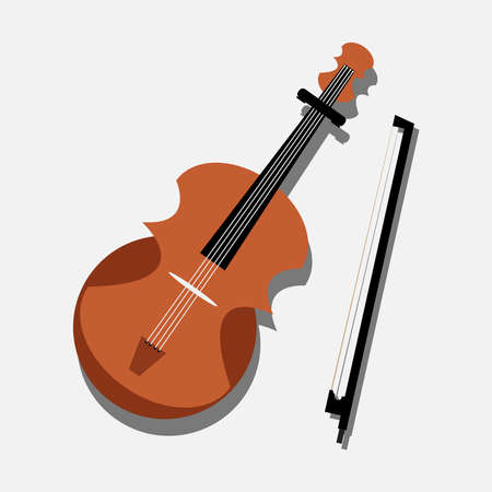 Brown Violin isolate on white background. Stock Illustratie