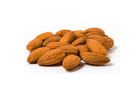 Group of Almonds on white background.