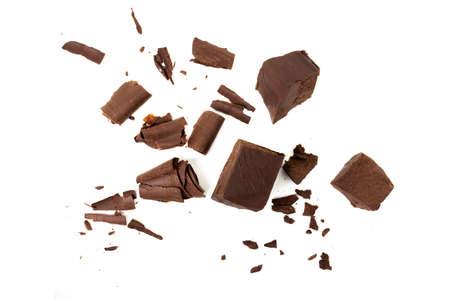 Broken chocolate with small piece isolated on white background.