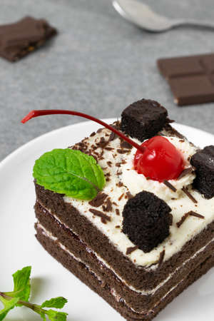 Yummy chocolate cake with cherry and mint leaves in white dish on tile table.