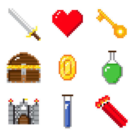 Set of pixel games on white background with castle, sword and object.