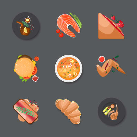 Set various food on gray background,(Bread and meat). Vettoriali