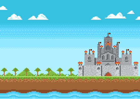 Castle of knight on nature background in game pixel style.