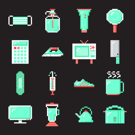 Set of object and protection with pixel art icon style on gray background.
