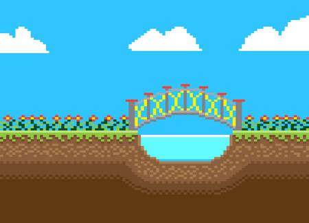 Nature landscape with bridge on blue sky background in pixel style. Illusztráció