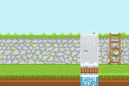 Nature landscape with waterfall on blue sky background in pixel game style.