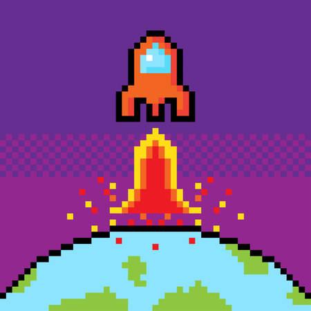 Orange Spacecraft start up from world to space in pixel game.