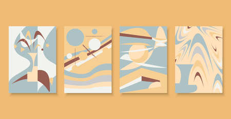 Abstract shapes consisting of Geometry shapes with colorful on cream background. Ilustração