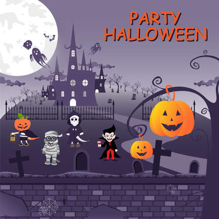 Book cover set of Halloween with old castle and cute ghost, pumpkin, bat and spider.
