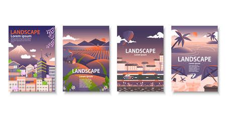 Cityscape of Japan, landscape, beach, illustration of book cover. Ilustração