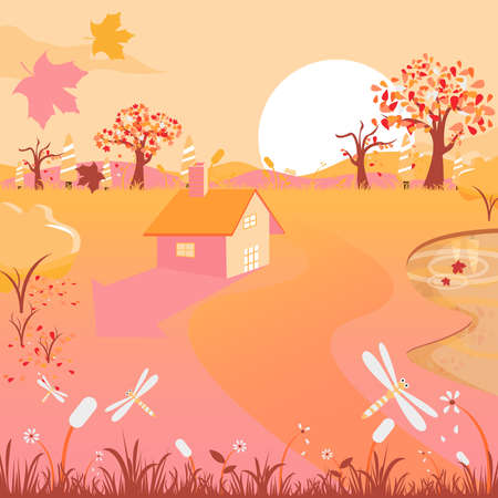 Landscapes in autumn with house and sun on sky background.