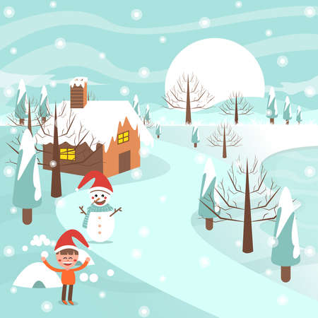 Merry christmas with snowman and man on road near house. Ilustração