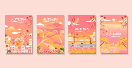 Cityscape of Japan with nature landscape and beach in autumn, book cover.