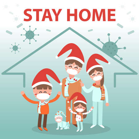 Family stay home in Christmas for protect  from Coronavirus.
