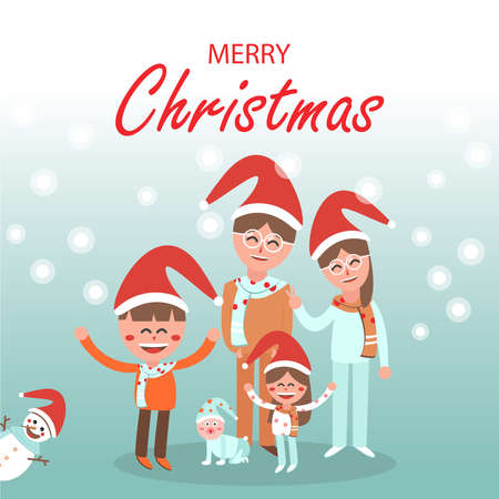 Merry Christmas with happy family and snowman on blue background.
