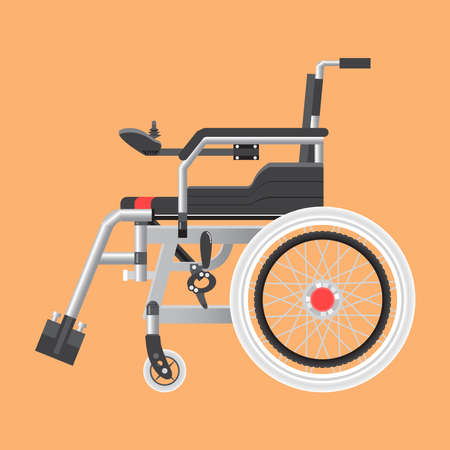 Side of Electric wheelchair isolated on cream background. Ilustração