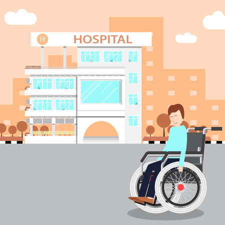 Cute young man with wheelchair on road in hospital. Ilustração