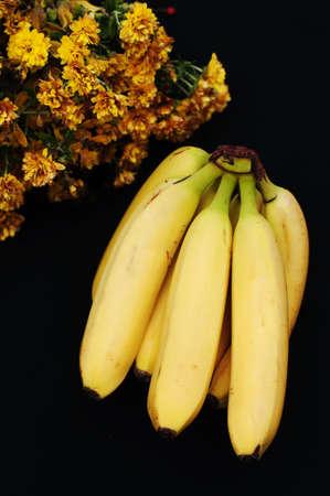 banana: Bunch of bananas on black background