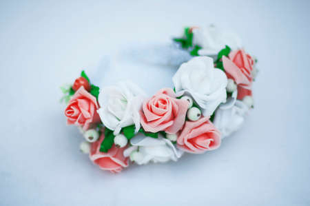 artificial hair: Hoop from flowers, wreath with colored flowers. Handmade flowers wreath on white. Accessory. Artificial flowers. Hair accessories. Beauty. Fashion. Decoration for the head. Wreath hair