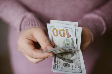 American dollars bank note in hand American dollars bank note in hand Stock Photo