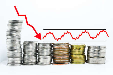 forex graph red arrow downtrend and sideway on coins