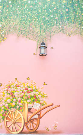 minutiae: lamp and flower on cart background Stock Photo