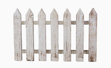 Isolated white picket fence