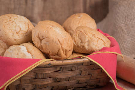 Close up of a basket of fresh baked rolls Stock Photo
