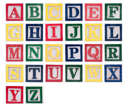 Colored block letters in the alphabet