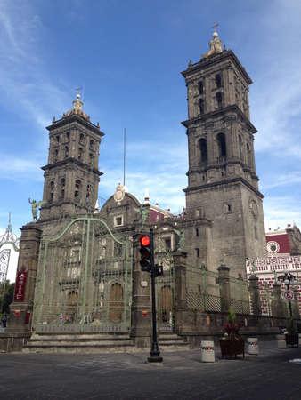 Puebla cathedral Stock Photo
