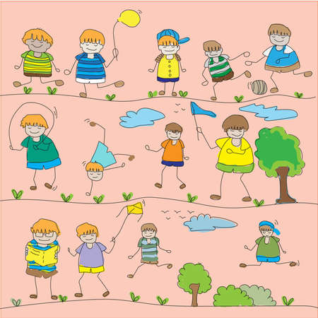 This is the boy activity with trees vector illustration.