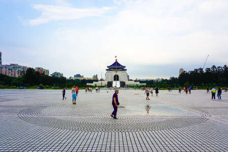 Taipei, Taiwan - May 2016: Visitors from all over the world are visiting Freedom Square in front of the Chiang Kai-shek Memorial Hall Editorial