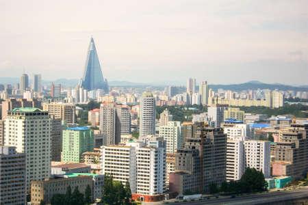 Capital Pyongyang city's Skyline in North Korea (DPRK) 스톡 콘텐츠